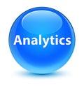 Analytics glassy cyan blue round button