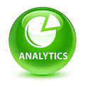 Analytics (graph icon) glassy green round button