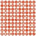 100 analytics icons hexagon orange