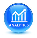 Analytics (statistics icon) glassy cyan blue round button