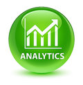 Analytics (statistics icon) glassy green round button