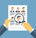 Analyzing applicants resume illustration concept flat design style modern vector of human resources management finding Stock Images