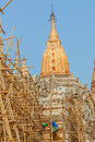 Ananda temple bagan myanmar february restoration of ancient with bamboo scaffolding in front on february in bagan myanmar built in Stock Image