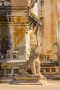 Ananda temple entrance guardian lion on the facade of ancient in old bagan myanmar Royalty Free Stock Photo