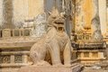 Ananda temple entrance guardian lion on the facade of ancient in old bagan myanmar Stock Image