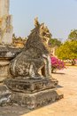 Ananda temple entrance guardian lion on the facade of ancient in old bagan myanmar Royalty Free Stock Images