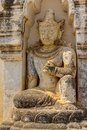 Ananda temple entrance statue on the facade of ancient in old bagan myanmar Stock Images