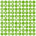 100 anatomy icons hexagon green