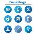 Ancestry or Genealogy Icon Set with Family Tree Album, DNA, beak Royalty Free Stock Photo