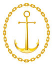 Anchor with chain as frame Royalty Free Stock Photography