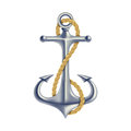 Anchor color isolated object polish steel with twisted rope maritime hope symbol d realistic vector illustration Royalty Free Stock Photos
