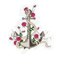 Anchor entwined with rose flowers hand drawn illustration of romantic sea Royalty Free Stock Image