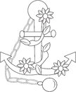 Anchor with flowers coloring page