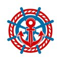 Anchor and helm marine nautical vector icon