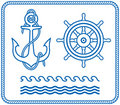 Anchor and Helm. Nautical designs Royalty Free Stock Photo