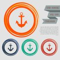 Anchor icon on the red, blue, green, orange buttons for your website and design with space text.