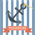 Anchor icon with teamwork sign on stripe background Stock Photos