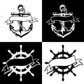 Anchor icon vector, tattoo, logo, grunge, design, floral, hand, Royalty Free Stock Photo