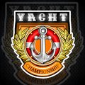 Anchor with lifebuoy in the middle of golden laurel wreath on the shield. Sport logo for any yachting or sailing team