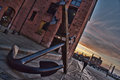 Anchor liverpool docks on with the sunset in the background Royalty Free Stock Photography