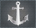Anchor on metal background silver vector eps Stock Photography
