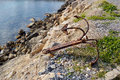 Anchor old by the seaside Stock Images