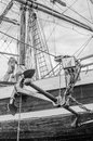 Anchor and rigging of an old sailboat Royalty Free Stock Photo
