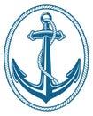 Anchor rope blue emblem design Royalty Free Stock Image