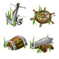 Anchor, steering wheel, gun, and wooden barrel Royalty Free Stock Photo