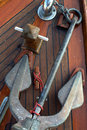 Anchor on Teak Boat Deck Stock Photo