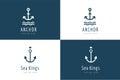 Anchor vector logo icon set. Sea, vintage or