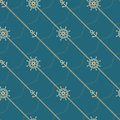 Anchor, wheel and chain. Seamless marine  pattern. Royalty Free Stock Photo