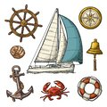 Anchor, wheel, sailing ship, compass rose, shell, crab, lighthouse engraving Royalty Free Stock Photo