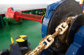 Anchor winch close up of an on deck of an offshore supply vessel Stock Photos