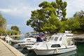 Anchorage ground in Trogir, Boats anchor at the seafront in Trog Royalty Free Stock Photo