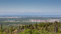 Anchorage and mount susitna looks over the city of Stock Photo