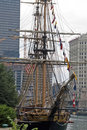 Anchored frigate on Chicago River Royalty Free Stock Images