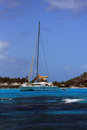 Anchored in paradise catamaran the lagoon of bora bora french polynesia society islands Stock Photo