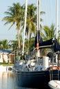 Anchored sailing yacht Royalty Free Stock Image