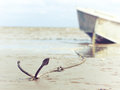 Anchored on the shore with boat Royalty Free Stock Photo