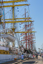 Anchored tall ship unidentified tourists embark and visit the romanian mircea docked during black sea ships regatta on may in Royalty Free Stock Photos