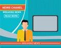 Anchorman on tv, flat vector illustration Royalty Free Stock Photo