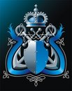 Anchors, crown and blue ribbon Stock Photography