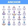 Anchors, Ship Equipment Vector Linear Icons Set