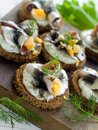 Anchovy canapes Royalty Free Stock Images