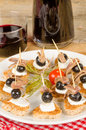 Anchovy tapa poartion of tapas on toast Royalty Free Stock Photography