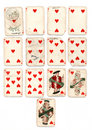 Ancien playing cards hearts Royalty Free Stock Photo