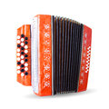 Ancient accordion on white background Stock Photography