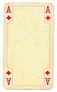 Ancient ace of diamonds playing card paper background isolated on white Stock Images