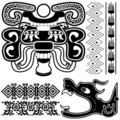 Ancient american patterns with dragon Royalty Free Stock Image